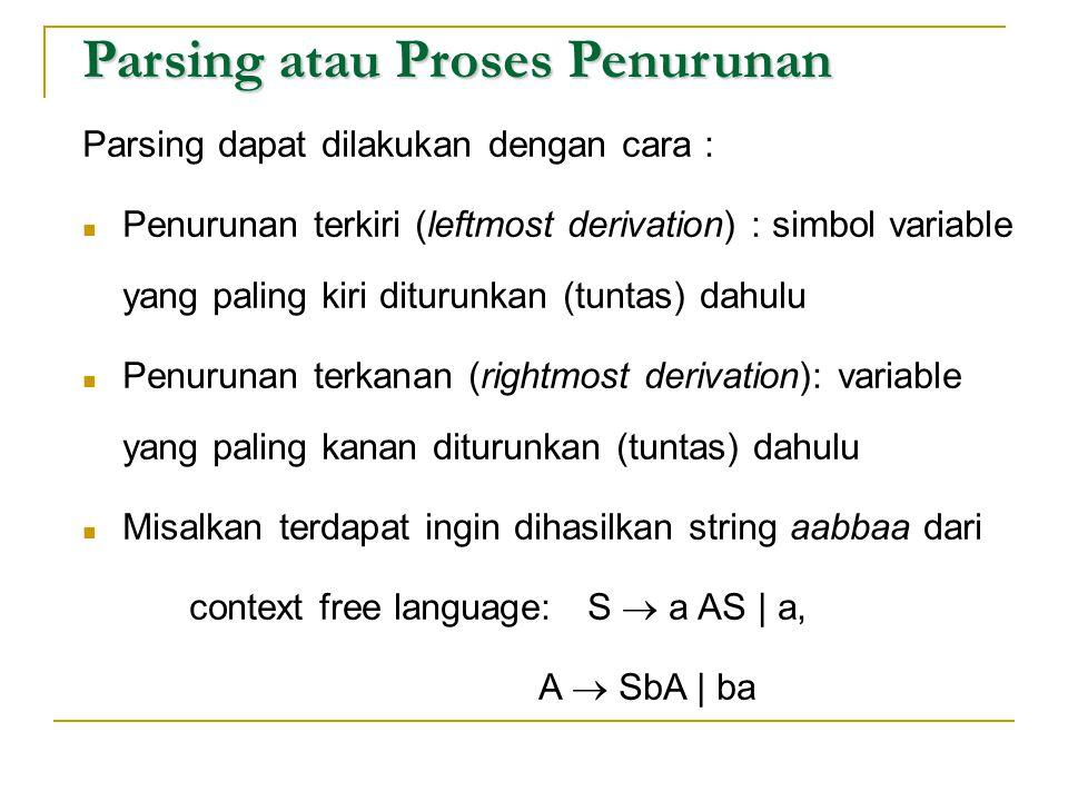 Parsing atau Proses Penurunan Parsing dapat dilakukan dengan cara :  Penurunan terkiri (leftmost derivation) : simbol variable yang paling kiri ditur
