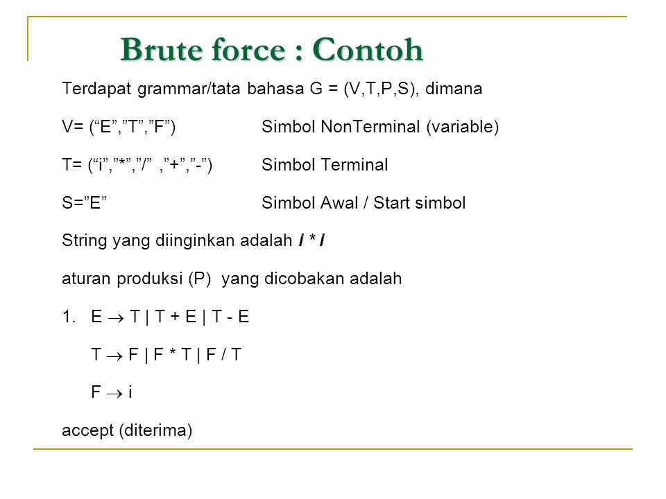 "Brute force : Contoh Terdapat grammar/tata bahasa G = (V,T,P,S), dimana V= (""E"",""T"",""F"")Simbol NonTerminal (variable) T= (""i"",""*"",""/"",""+"",""-"")Simbol T"