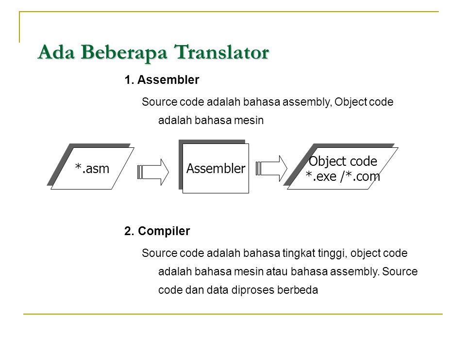Ada Beberapa Translator Ada Beberapa Translator 1. Assembler Source code adalah bahasa assembly, Object code adalah bahasa mesin 2. Compiler Source co
