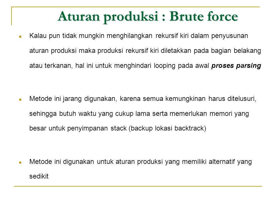 Aturan produksi : Brute force Aturan produksi : Brute force  Kalau pun tidak mungkin menghilangkan rekursif kiri dalam penyusunan aturan produksi mak