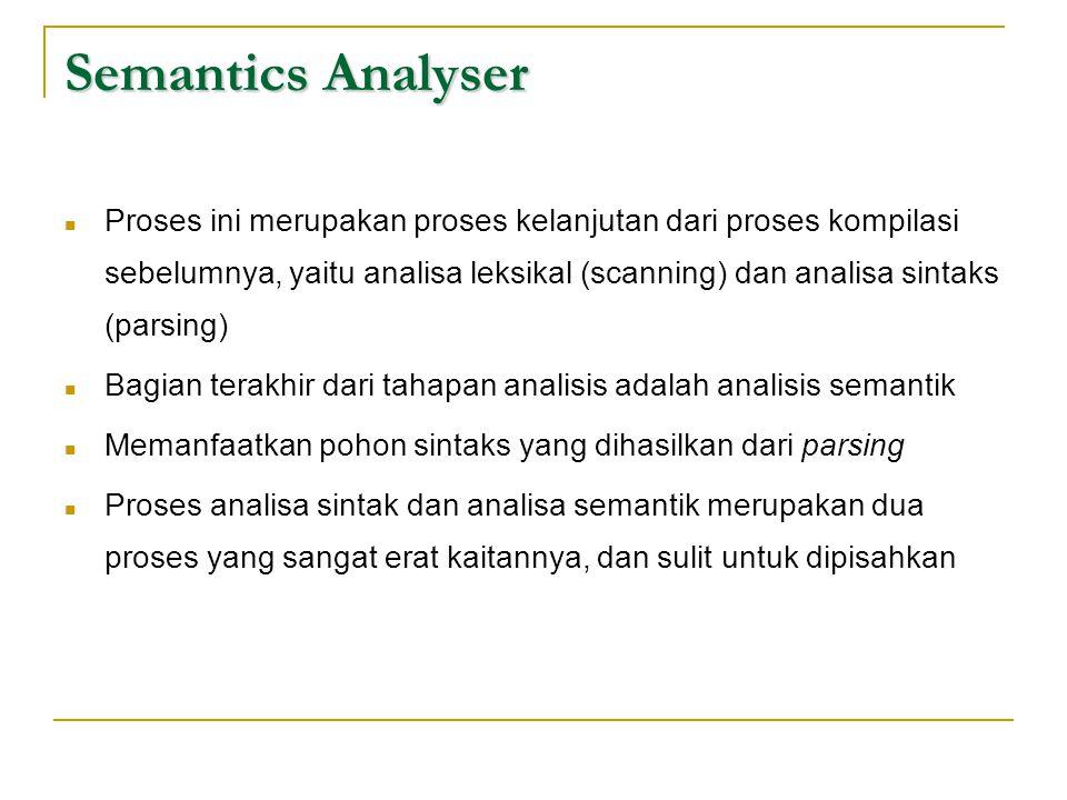 Semantics Analyser  Proses ini merupakan proses kelanjutan dari proses kompilasi sebelumnya, yaitu analisa leksikal (scanning) dan analisa sintaks (p