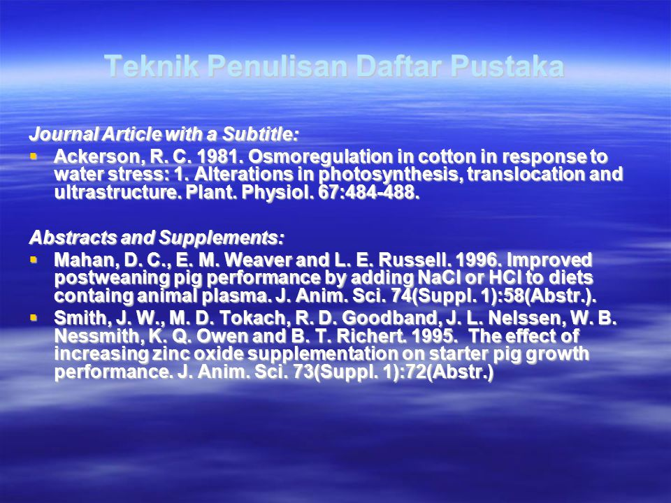 Teknik Penulisan Daftar Pustaka Journal Article with a Subtitle:  Ackerson, R.