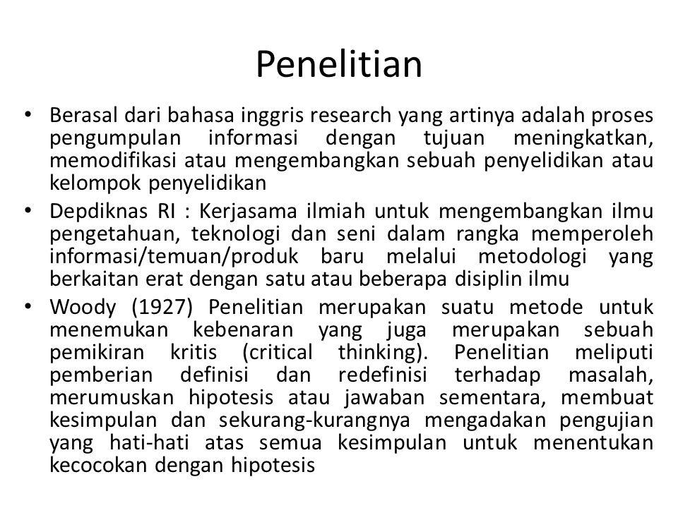 Penelitian • Berasal dari bahasa inggris research yang artinya adalah proses pengumpulan informasi dengan tujuan meningkatkan, memodifikasi atau menge
