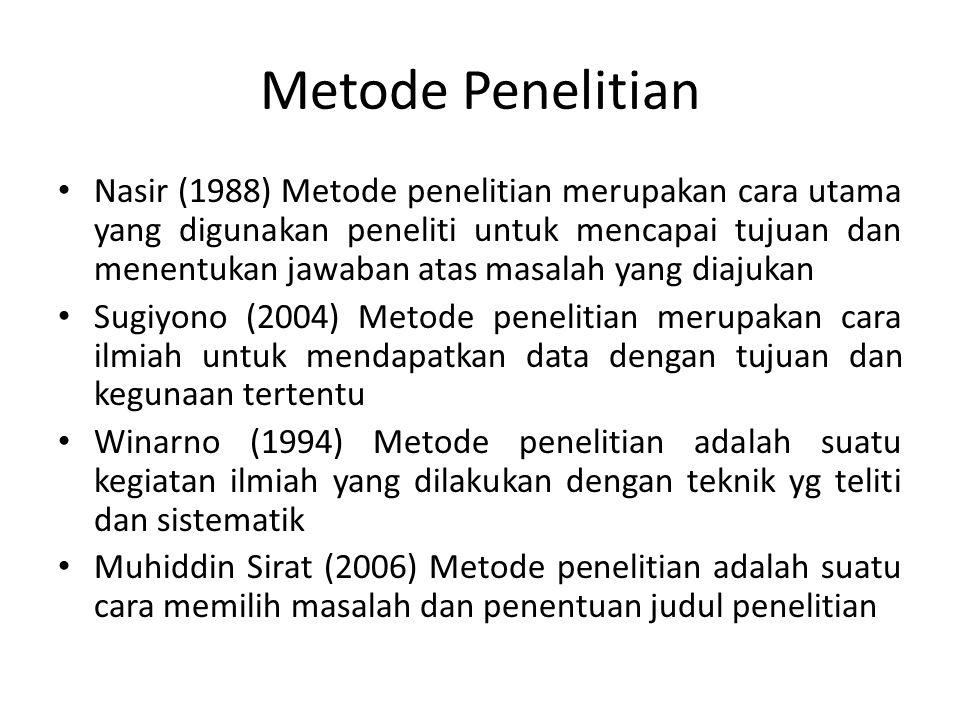Metode Penelitian • Nasir (1988) Metode penelitian merupakan cara utama yang digunakan peneliti untuk mencapai tujuan dan menentukan jawaban atas masa