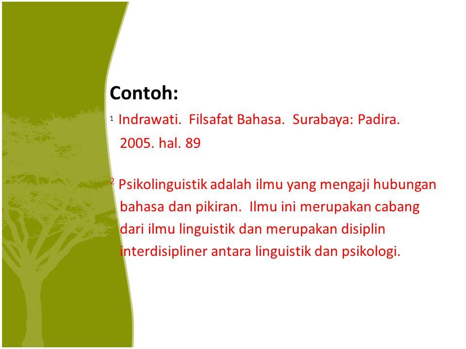 Contoh: 1 Indrawati. Filsafat Bahasa. Surabaya: Padira. 2005. hal. 89 2 Psikolinguistik adalah ilmu yang mengaji hubungan bahasa dan pikiran. Ilmu ini
