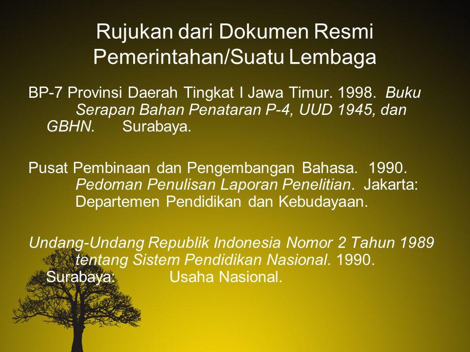 Rujukan dari Dokumen Resmi Pemerintahan/Suatu Lembaga BP-7 Provinsi Daerah Tingkat I Jawa Timur. 1998. Buku Serapan Bahan Penataran P-4, UUD 1945, dan