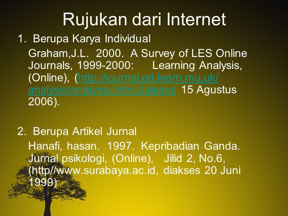 Rujukan dari Internet 1. Berupa Karya Individual Graham,J.L. 2000. A Survey of LES Online Journals, 1999-2000: Learning Analysis, (Online), (http://jo