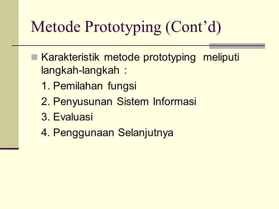 Metode Prototyping (Cont'd)  Karakteristik metode prototyping meliputi langkah-langkah : 1. Pemilahan fungsi 2. Penyusunan Sistem Informasi 3. Evalua