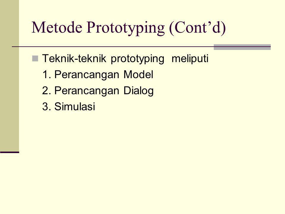 Metode Prototyping (Cont'd)  Teknik-teknik prototyping meliputi 1. Perancangan Model 2. Perancangan Dialog 3. Simulasi