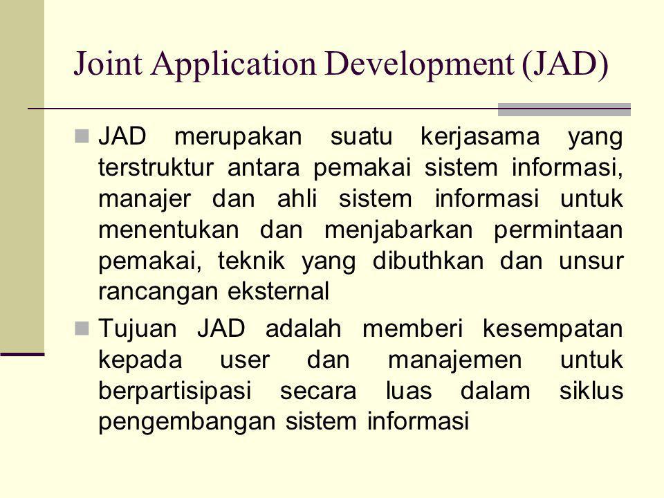 Joint Application Development (JAD)  JAD merupakan suatu kerjasama yang terstruktur antara pemakai sistem informasi, manajer dan ahli sistem informas