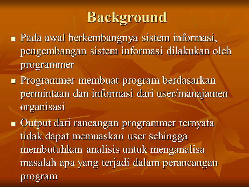Background  Pada awal berkembangnya sistem informasi, pengembangan sistem informasi dilakukan oleh programmer  Programmer membuat program berdasarka