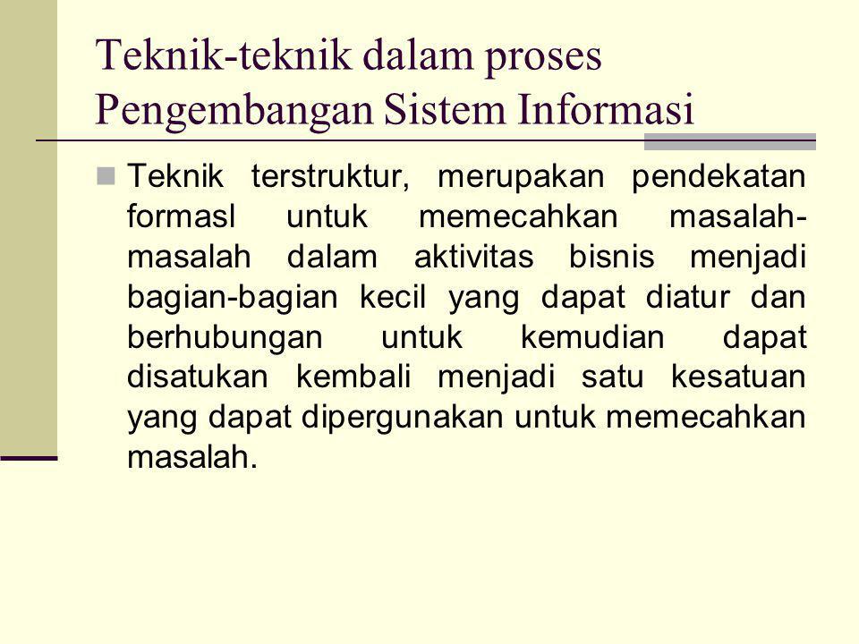Teknik-teknik dalam proses Pengembangan Sistem Informasi  Teknik terstruktur, merupakan pendekatan formasl untuk memecahkan masalah- masalah dalam ak