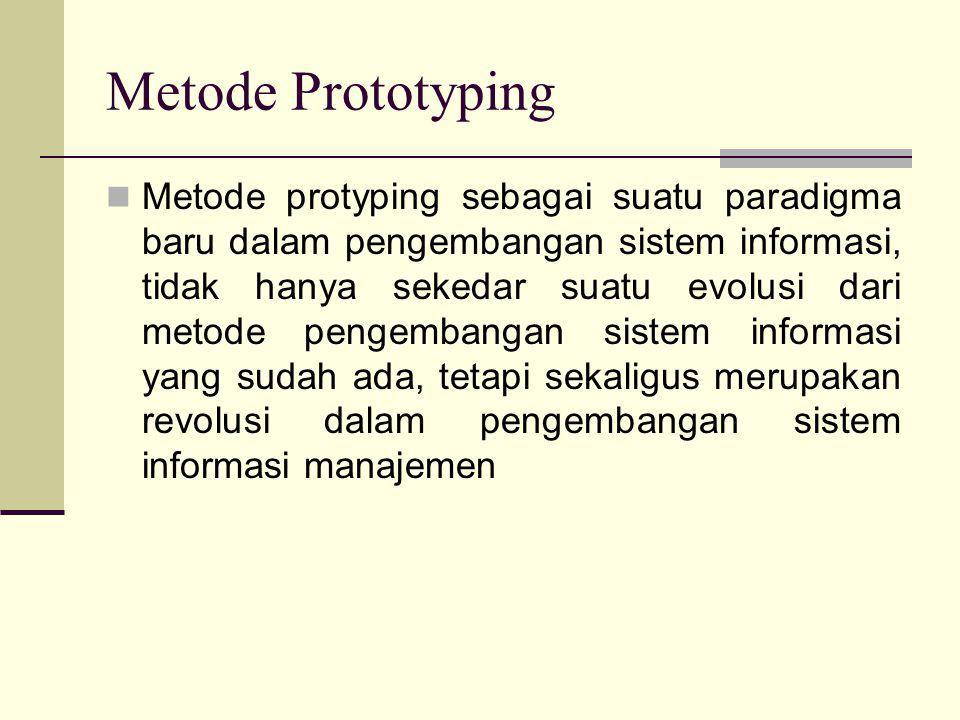 Metode Prototyping  Metode protyping sebagai suatu paradigma baru dalam pengembangan sistem informasi, tidak hanya sekedar suatu evolusi dari metode