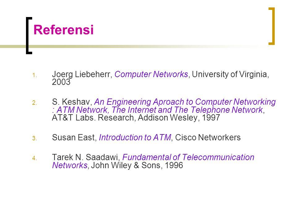 Referensi 1.Joerg Liebeherr, Computer Networks, University of Virginia, 2003 2.