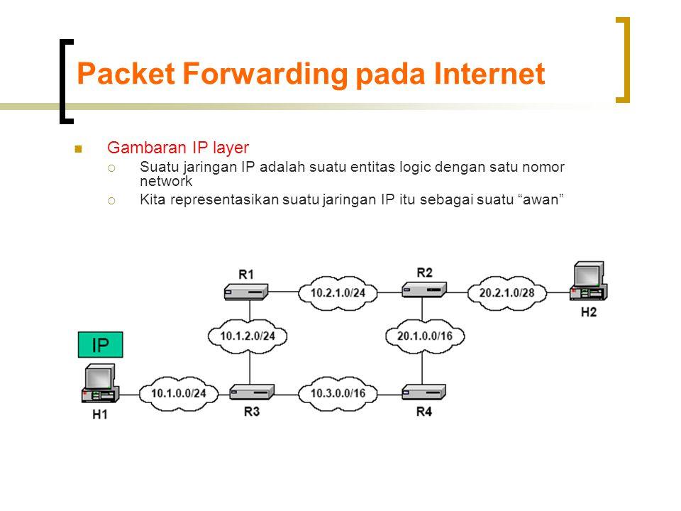 Packet Forwarding pada Internet  Gambaran IP layer  Suatu jaringan IP adalah suatu entitas logic dengan satu nomor network  Kita representasikan suatu jaringan IP itu sebagai suatu awan