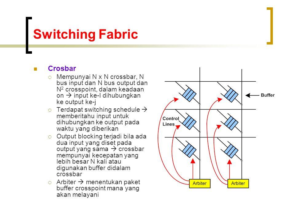 Switching Fabric  Crosbar  Mempunyai N x N crossbar, N bus input dan N bus output dan N 2 crosspoint, dalam keadaan on  input ke-I dihubungkan ke output ke-j  Terdapat switching schedule  memberitahu input untuk dihubungkan ke output pada waktu yang diberikan  Output blocking terjadi bila ada dua input yang diset pada output yang sama  crossbar mempunyai kecepatan yang lebih besar N kali atau digunakan buffer didalam crossbar  Arbiter  menentukan paket buffer crosspoint mana yang akan melayani