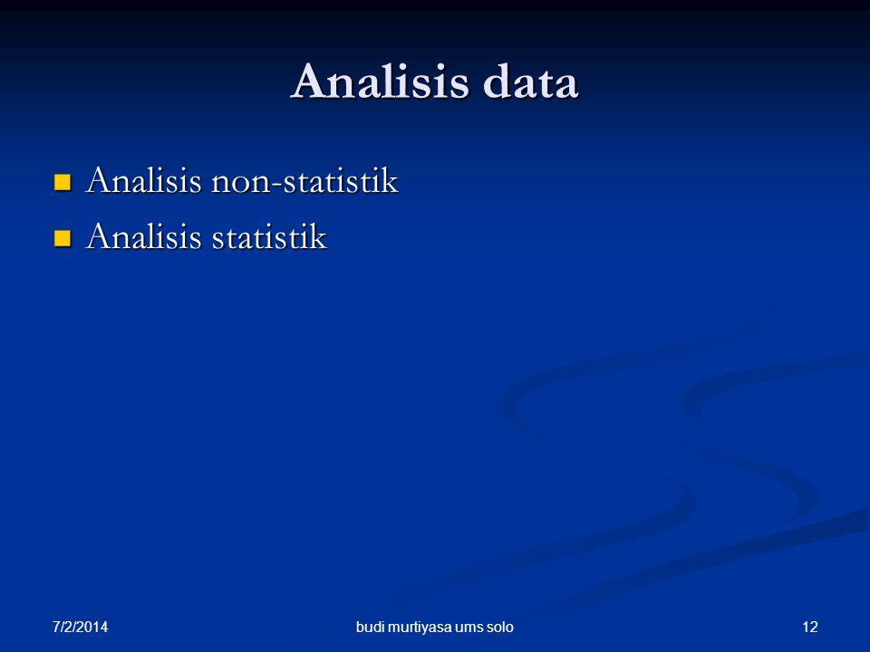 7/2/2014 12 Analisis data  Analisis non-statistik  Analisis statistik budi murtiyasa ums solo