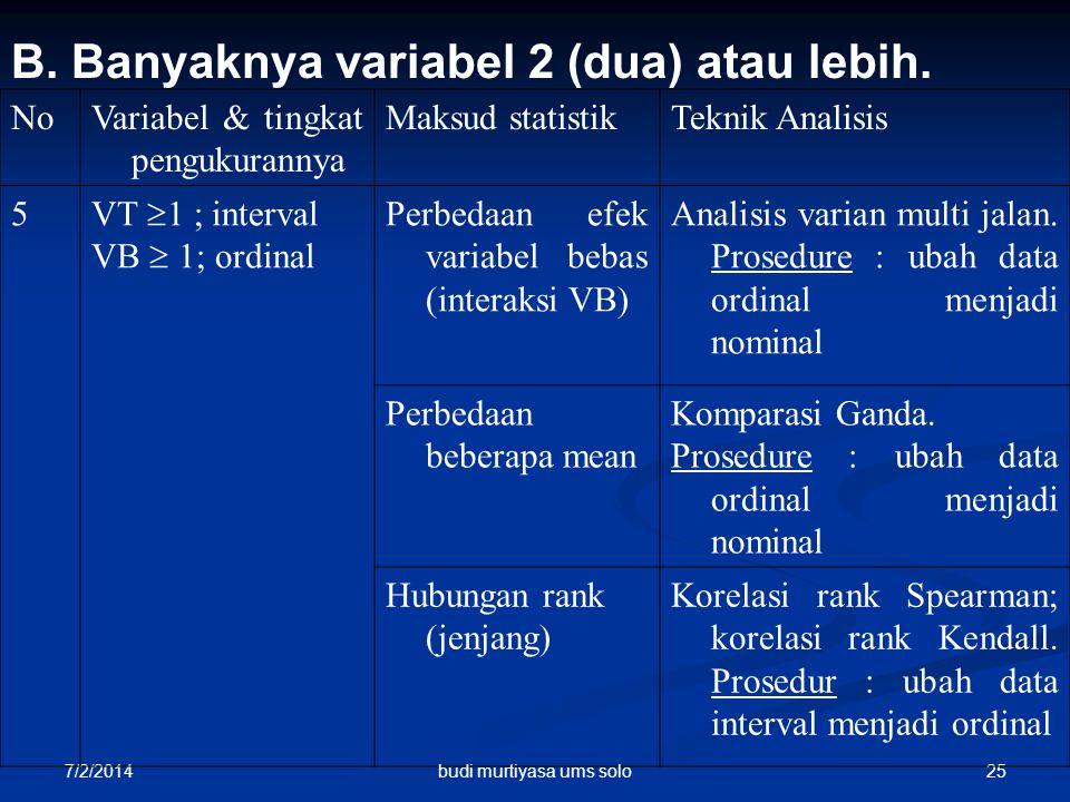 7/2/2014 25 B. Banyaknya variabel 2 (dua) atau lebih. NoVariabel & tingkat pengukurannya Maksud statistikTeknik Analisis 5 VT  1 ; interval VB  1; o