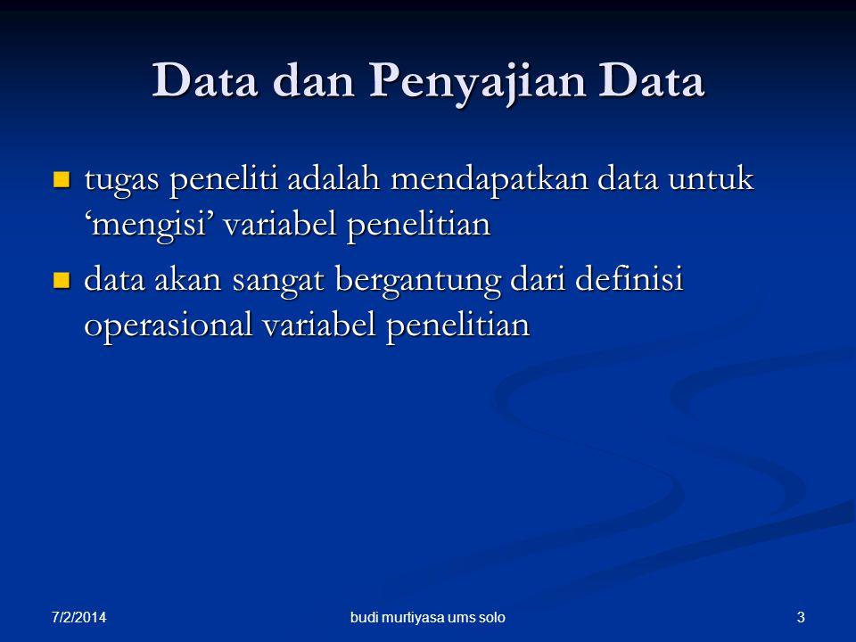 7/2/2014 3 Data dan Penyajian Data  tugas peneliti adalah mendapatkan data untuk 'mengisi' variabel penelitian  data akan sangat bergantung dari def