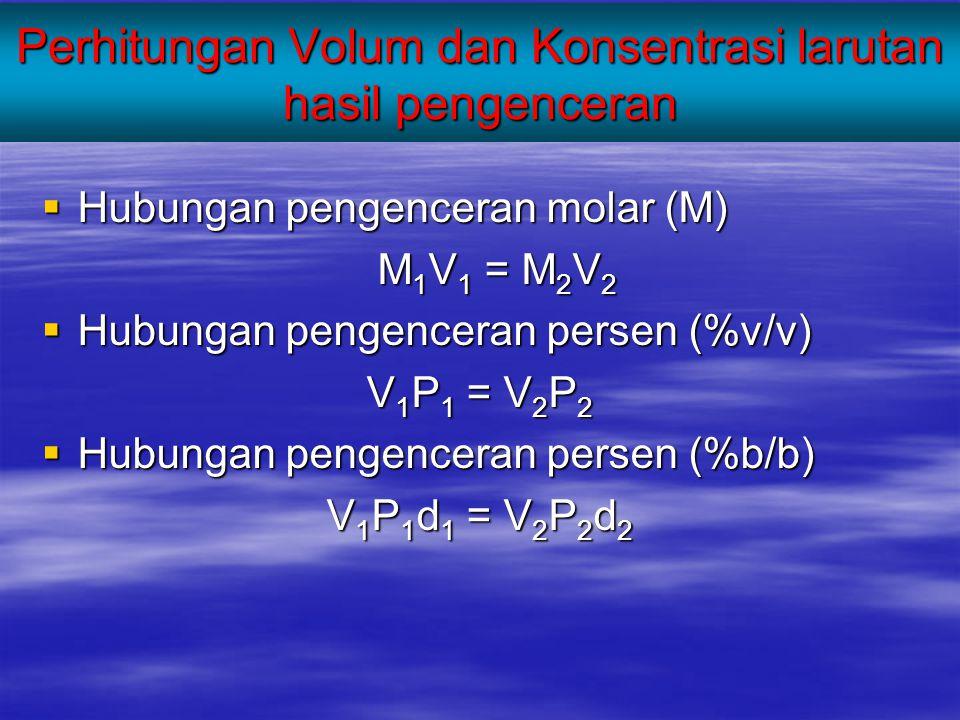 Perhitungan Volum dan Konsentrasi larutan hasil pengenceran  Hubungan pengenceran molar (M) M 1 V 1 = M 2 V 2  Hubungan pengenceran persen (%v/v) V