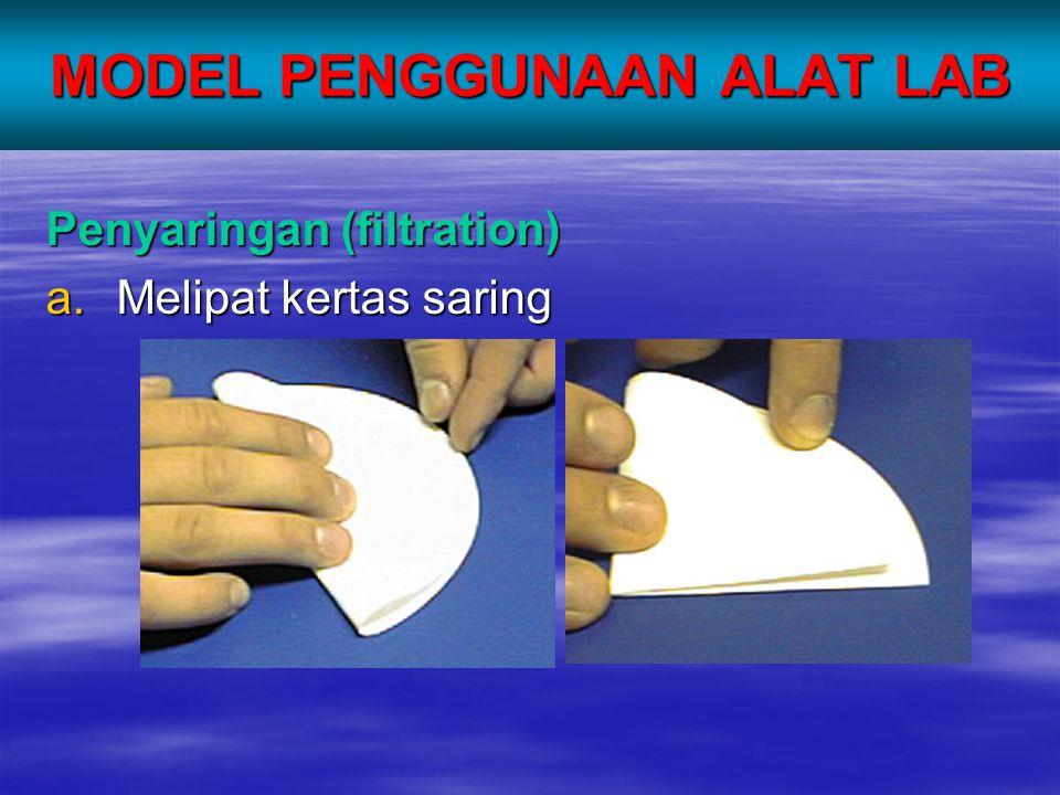 MODEL PENGGUNAAN ALAT LAB Penyaringan (filtration) a.Melipat kertas saring