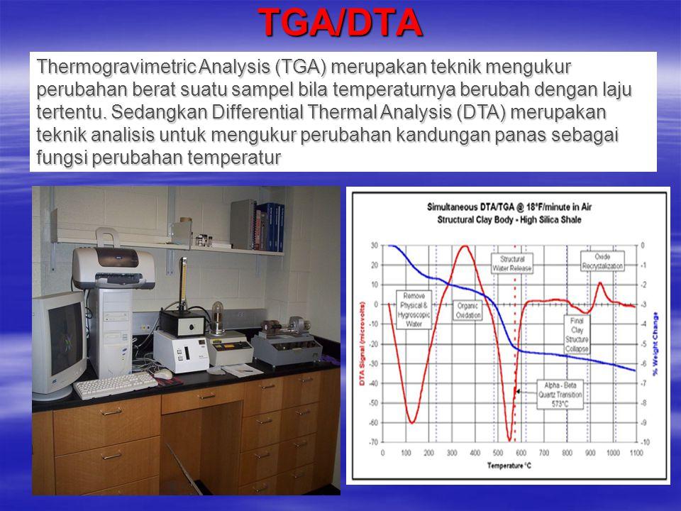 TGA/DTA Thermogravimetric Analysis (TGA) merupakan teknik mengukur perubahan berat suatu sampel bila temperaturnya berubah dengan laju tertentu. Sedan