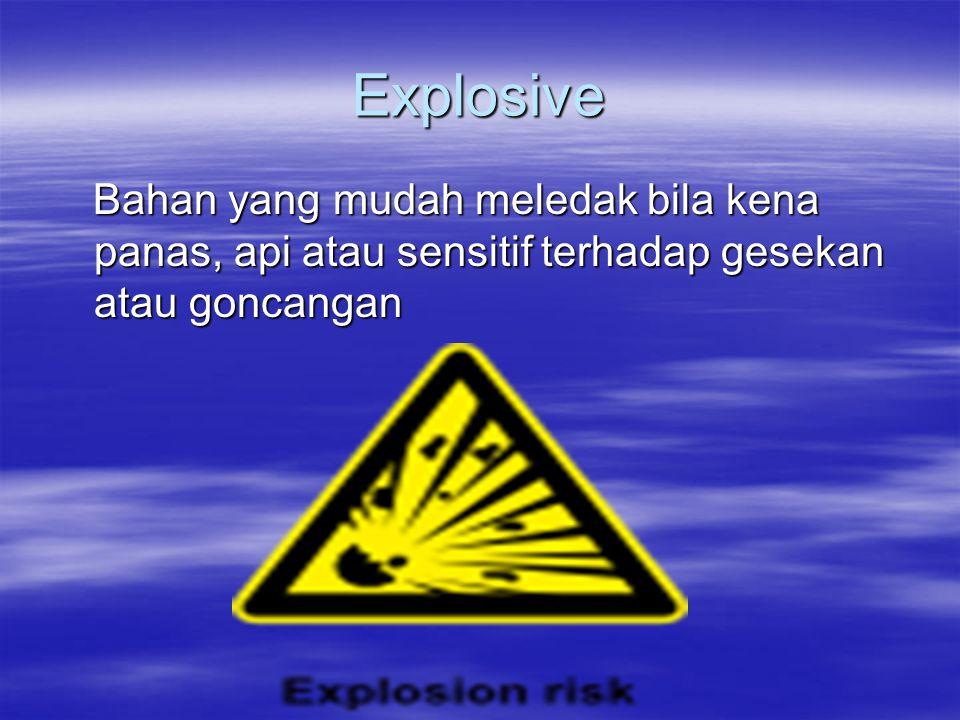 Explosive Bahan yang mudah meledak bila kena panas, api atau sensitif terhadap gesekan atau goncangan Bahan yang mudah meledak bila kena panas, api at