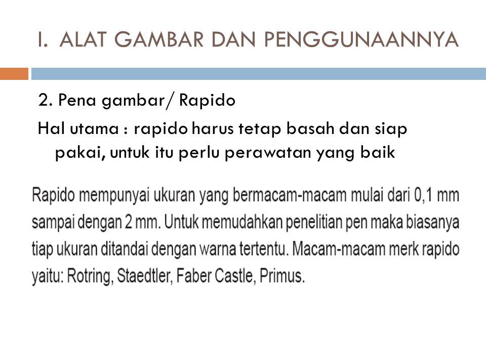 2. Pena gambar/ Rapido Hal utama : rapido harus tetap basah dan siap pakai, untuk itu perlu perawatan yang baik I.ALAT GAMBAR DAN PENGGUNAANNYA