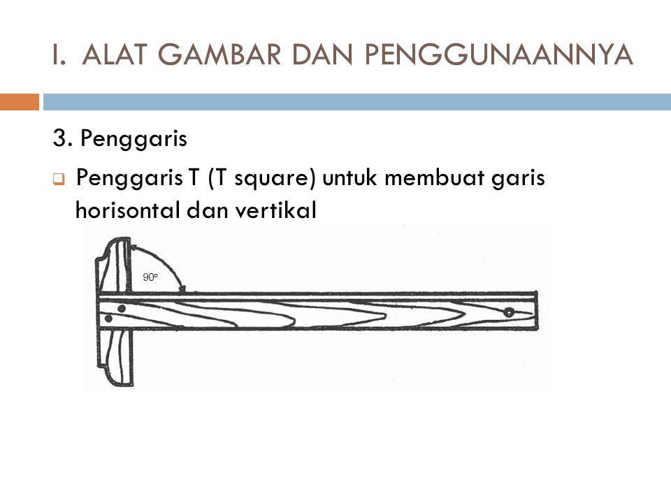 3. Penggaris  Penggaris T (T square) untuk membuat garis horisontal dan vertikal I.ALAT GAMBAR DAN PENGGUNAANNYA
