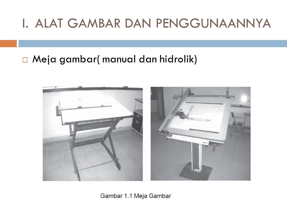  Meja gambar( manual dan hidrolik) I.ALAT GAMBAR DAN PENGGUNAANNYA