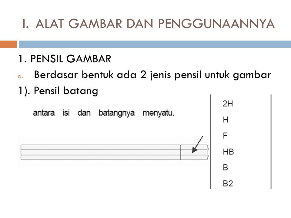 I.ALAT GAMBAR DAN PENGGUNAANNYA 1. PENSIL GAMBAR a. Berdasar bentuk ada 2 jenis pensil untuk gambar 1). Pensil batang