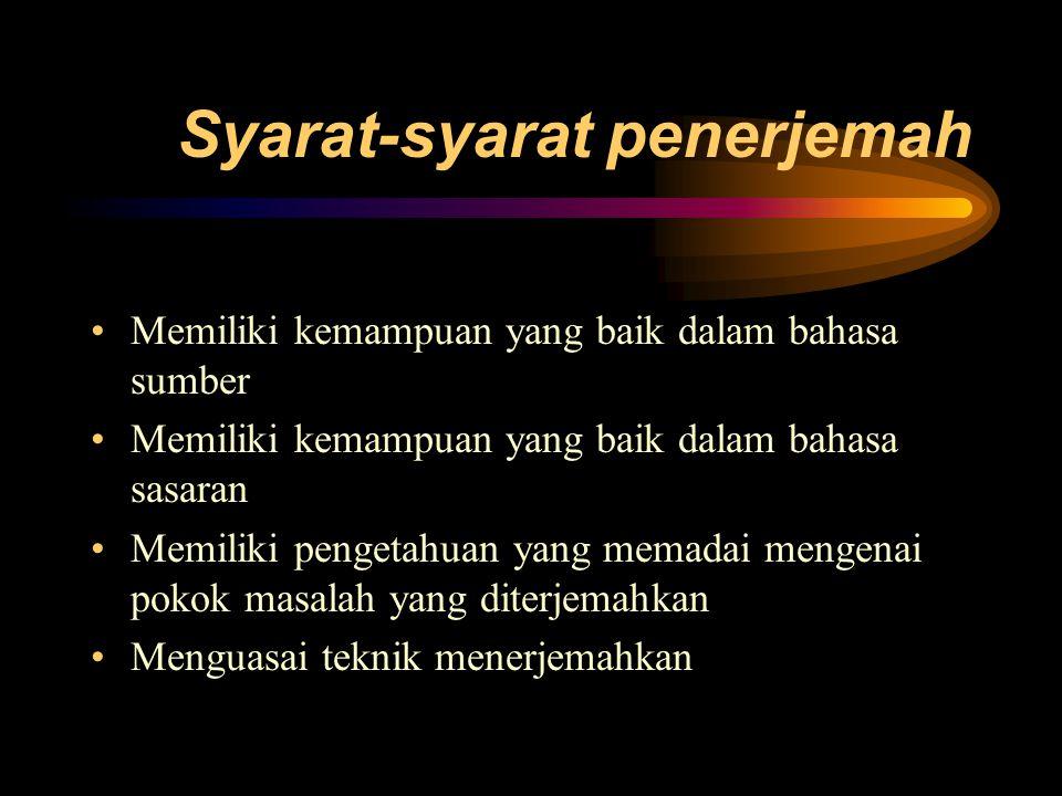 Metode penerjemahan 1. Harfiah 2. Katawi 3. Wajar 4. Bebas
