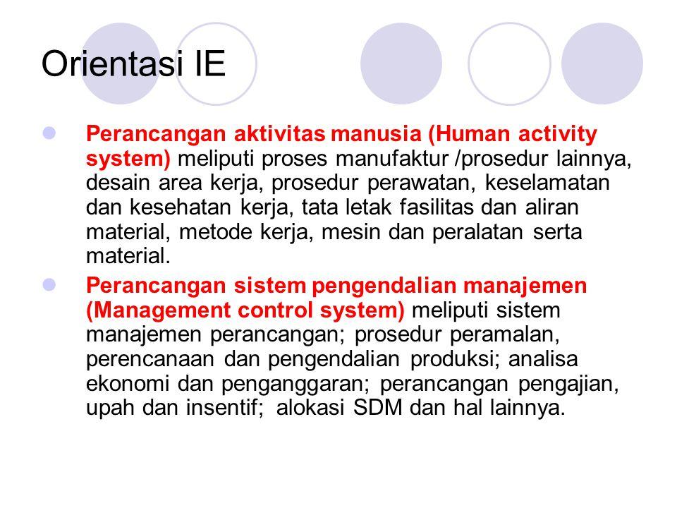 Orientasi IE  Perancangan aktivitas manusia (Human activity system) meliputi proses manufaktur /prosedur lainnya, desain area kerja, prosedur perawat