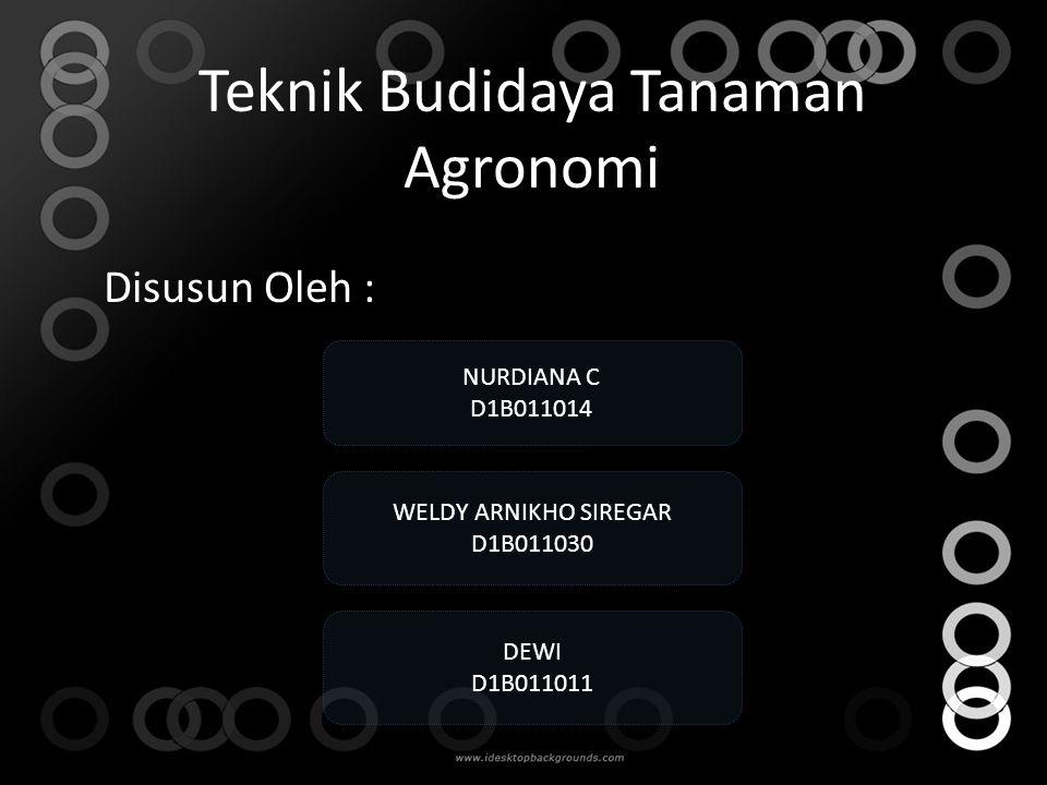 Teknik Budidaya Tanaman Agronomi Disusun Oleh : WELDY ARNIKHO SIREGAR D1B011030 NURDIANA C D1B011014 DEWI D1B011011