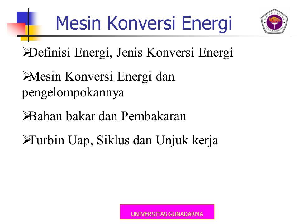UNIVERSITAS GUNADARMA Mesin Konversi Energi  Definisi Energi, Jenis Konversi Energi  Mesin Konversi Energi dan pengelompokannya  Bahan bakar dan Pe