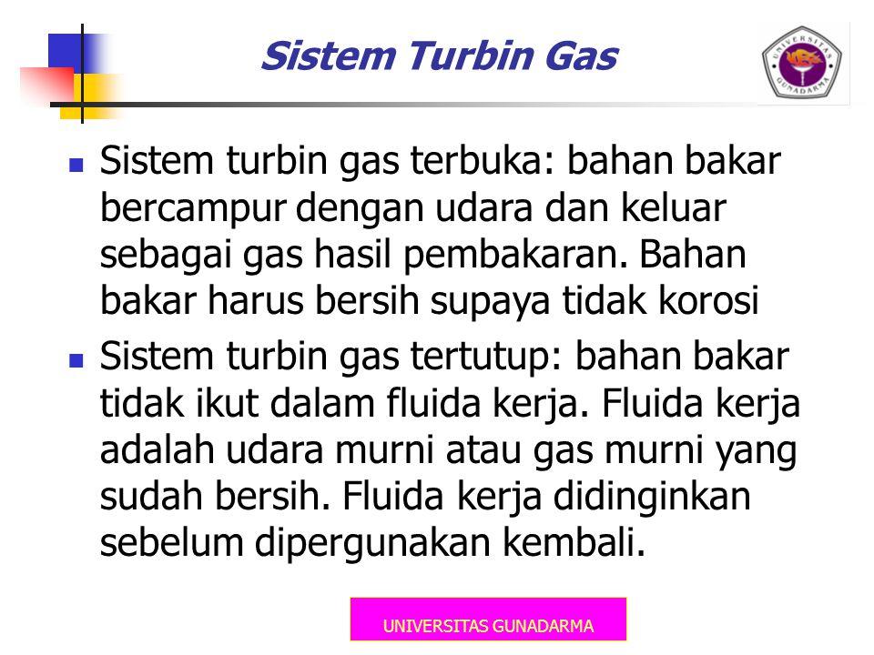 UNIVERSITAS GUNADARMA Sistem Turbin Gas  Sistem turbin gas terbuka: bahan bakar bercampur dengan udara dan keluar sebagai gas hasil pembakaran. Bahan