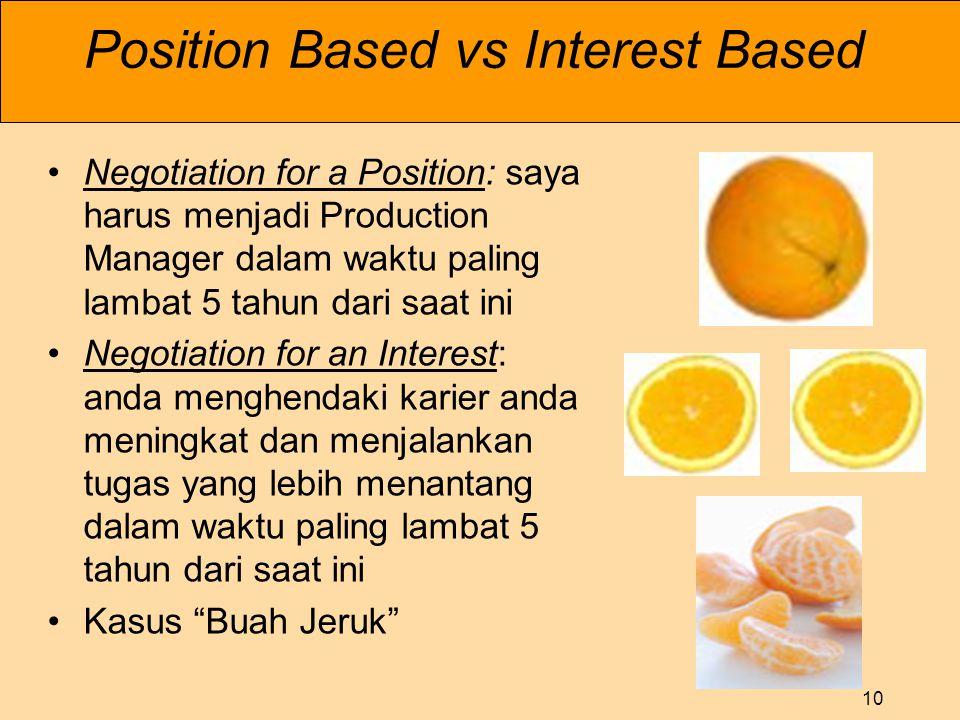 10 Position Based vs Interest Based •Negotiation for a Position: saya harus menjadi Production Manager dalam waktu paling lambat 5 tahun dari saat ini •Negotiation for an Interest: anda menghendaki karier anda meningkat dan menjalankan tugas yang lebih menantang dalam waktu paling lambat 5 tahun dari saat ini •Kasus Buah Jeruk