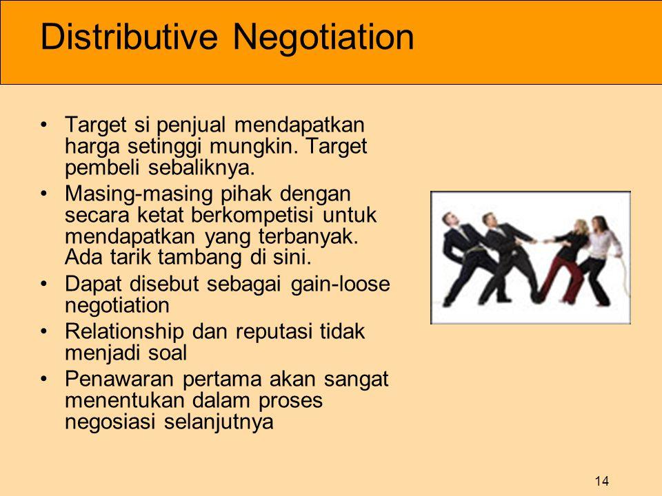 14 Distributive Negotiation •Target si penjual mendapatkan harga setinggi mungkin.