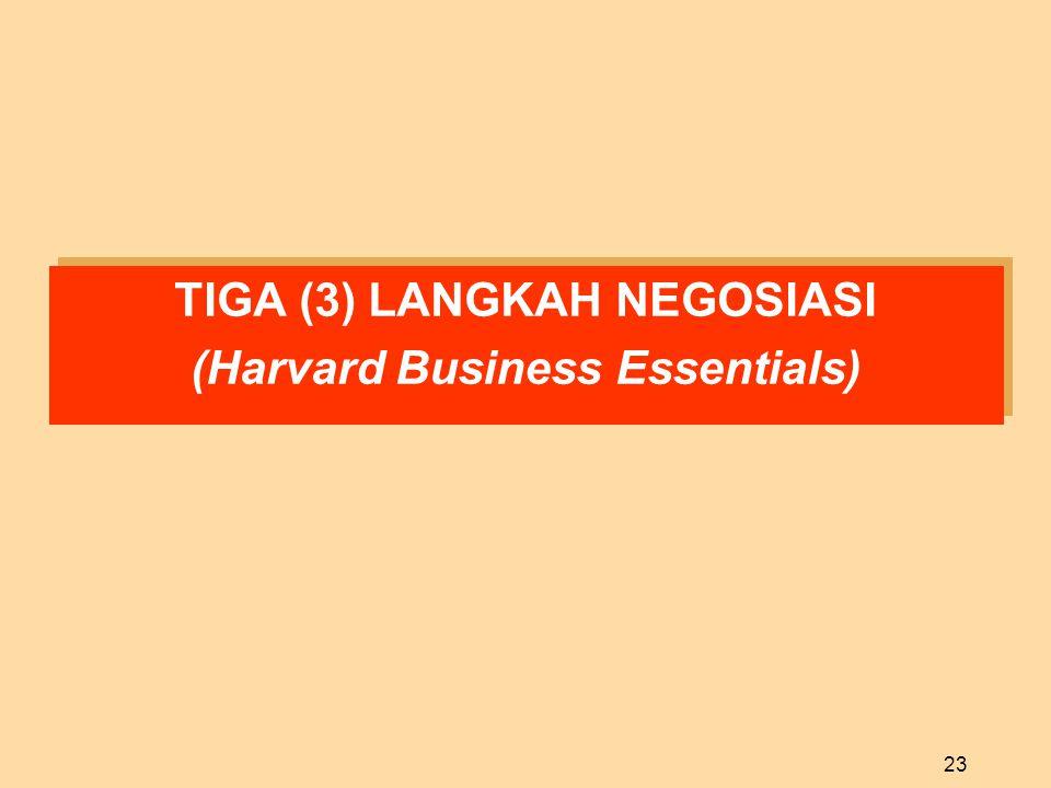 23 TIGA (3) LANGKAH NEGOSIASI (Harvard Business Essentials) TIGA (3) LANGKAH NEGOSIASI (Harvard Business Essentials)