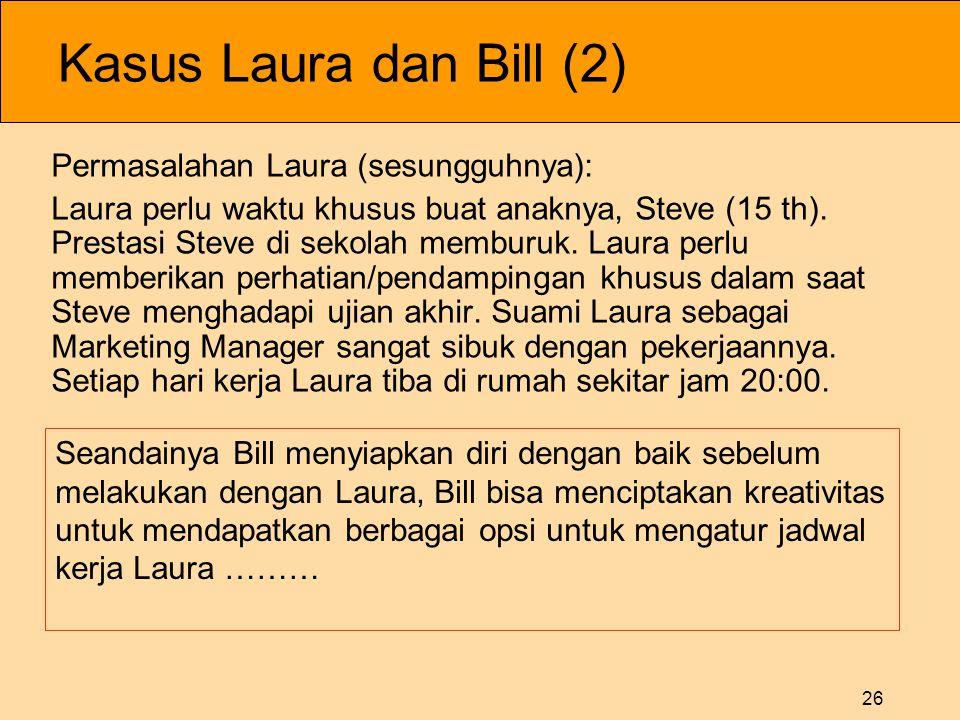 26 Kasus Laura dan Bill (2) Permasalahan Laura (sesungguhnya): Laura perlu waktu khusus buat anaknya, Steve (15 th).