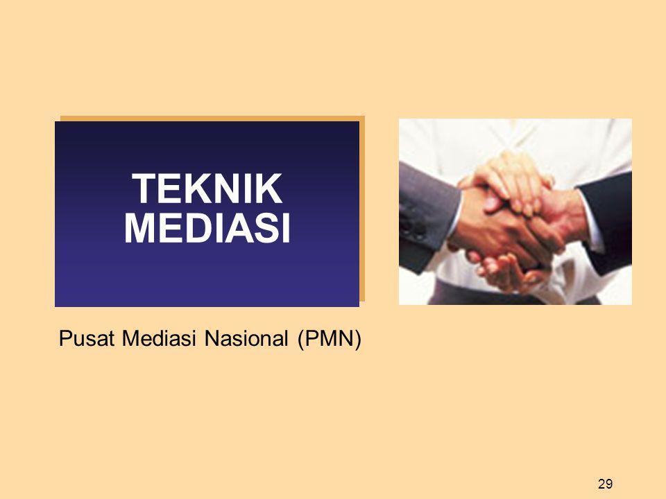 29 TEKNIK MEDIASI Pusat Mediasi Nasional (PMN)