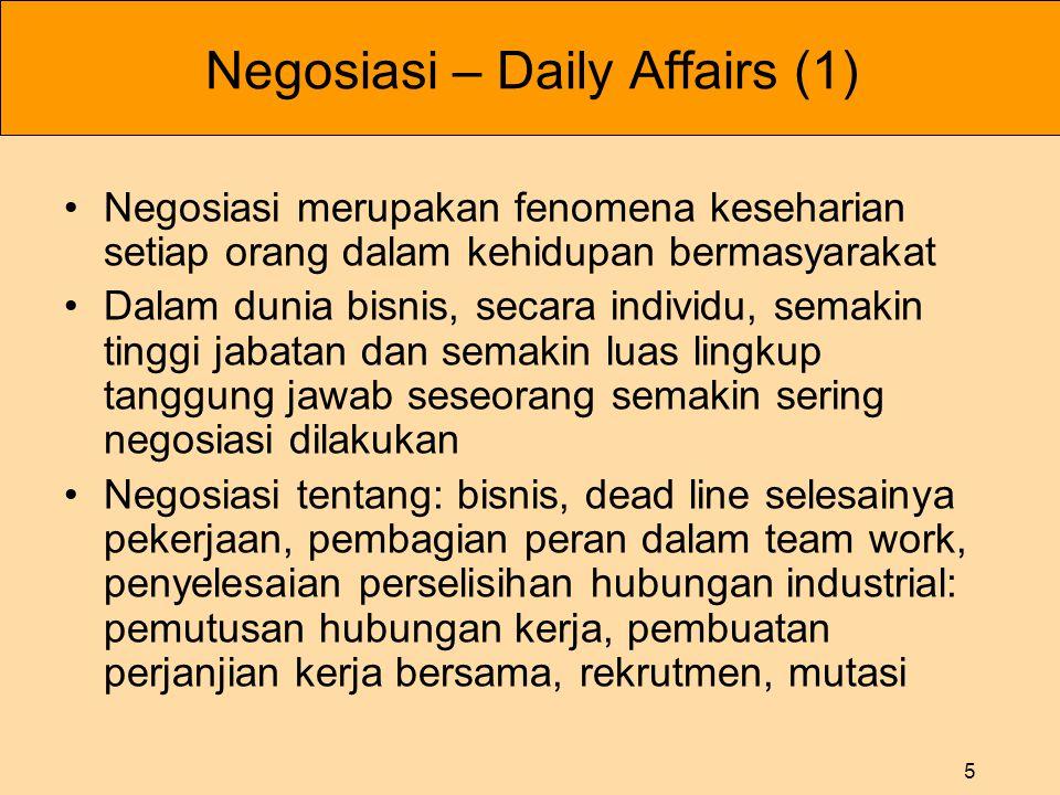 5 Negosiasi – Daily Affairs (1) •Negosiasi merupakan fenomena keseharian setiap orang dalam kehidupan bermasyarakat •Dalam dunia bisnis, secara indivi