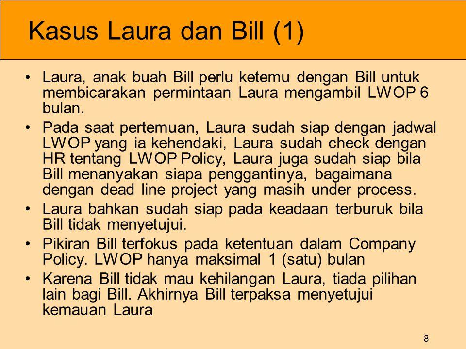 8 Kasus Laura dan Bill (1) •Laura, anak buah Bill perlu ketemu dengan Bill untuk membicarakan permintaan Laura mengambil LWOP 6 bulan.