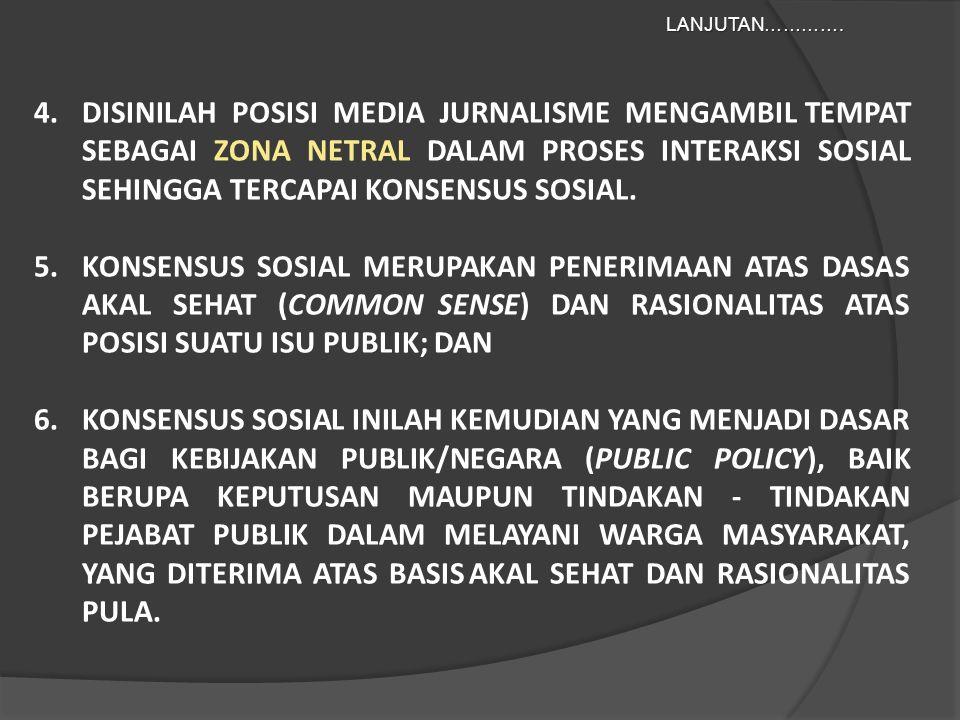 4.DISINILAH POSISI MEDIA JURNALISME MENGAMBIL TEMPAT SEBAGAI ZONA NETRAL DALAM PROSES INTERAKSI SOSIAL SEHINGGA TERCAPAI KONSENSUS SOSIAL.