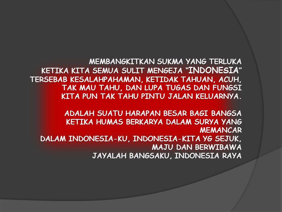 MEMBANGKITKAN SUKMA YANG TERLUKA KETIKA KITA SEMUA SULIT MENGEJA INDONESIA TERSEBAB KESALAHPAHAMAN, KETIDAK TAHUAN, ACUH, TAK MAU TAHU, DAN LUPA TUGAS DAN FUNGSI KITA PUN TAK TAHU PINTU JALAN KELUARNYA.