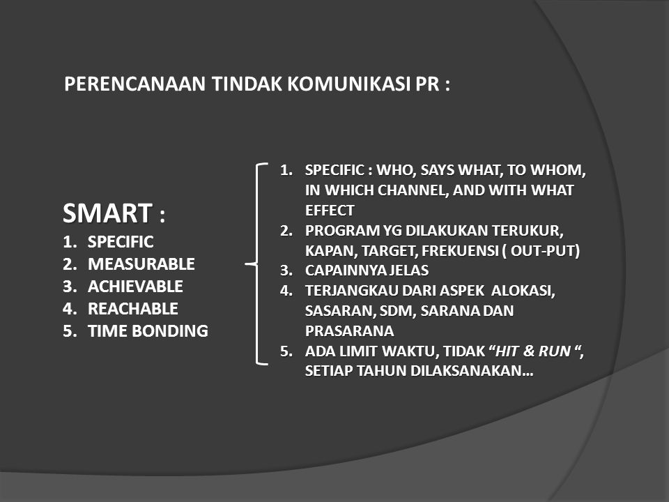 1.SPECIFIC : WHO, SAYS WHAT, TO WHOM, IN WHICH CHANNEL, AND WITH WHAT EFFECT 2.PROGRAM YG DILAKUKAN TERUKUR, KAPAN, TARGET, FREKUENSI ( OUT-PUT) 3.CAP