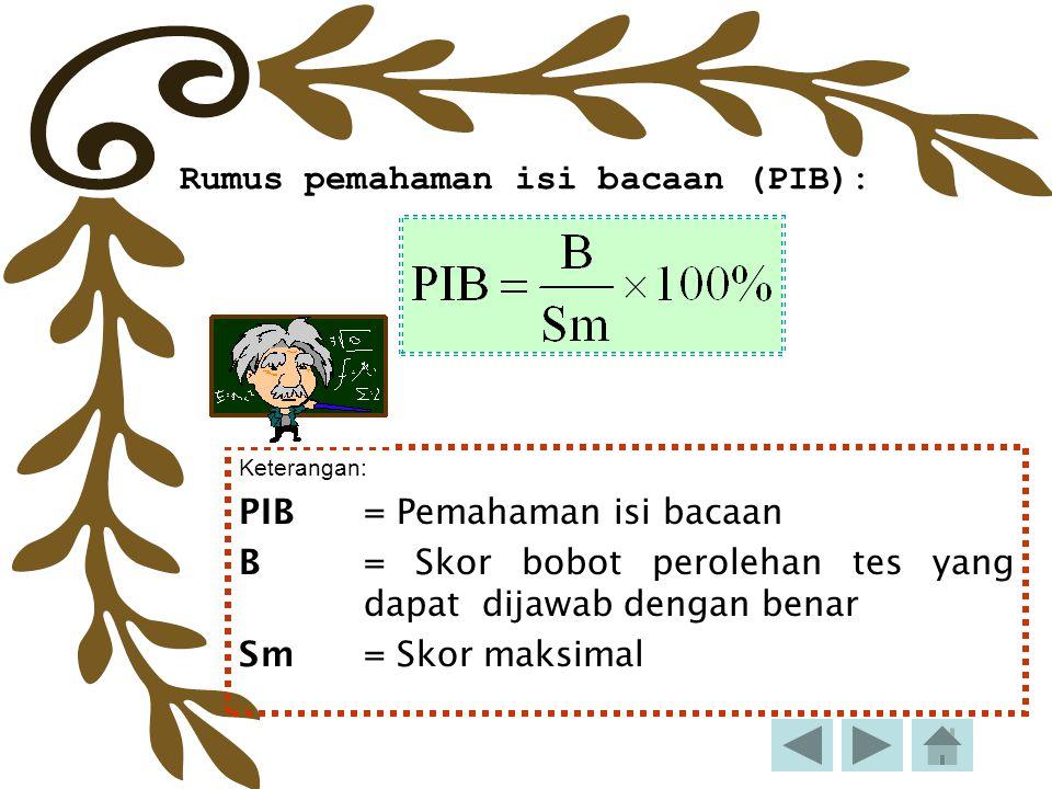 Rumus pemahaman isi bacaan (PIB): Keterangan: PIB = Pemahaman isi bacaan B= Skor bobot perolehan tes yang dapat dijawab dengan benar Sm= Skor maksimal