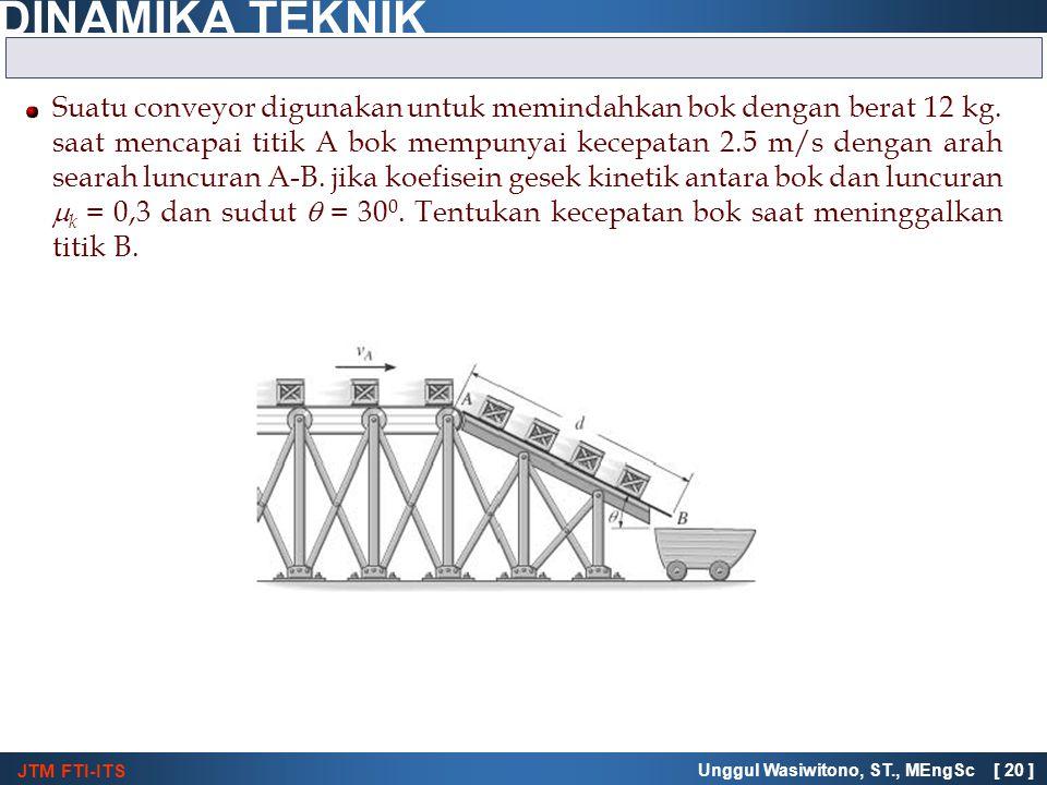 JTM FTI-ITS DINAMIKA TEKNIK Unggul Wasiwitono, ST., MEngSc [ 20 ] Suatu conveyor digunakan untuk memindahkan bok dengan berat 12 kg. saat mencapai tit