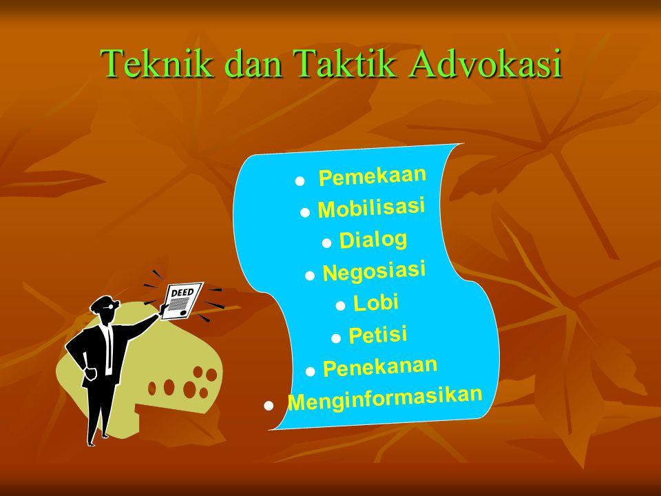 Pihak yang terkait dalam Advokasi •Masyarakat penerima manfaat •Pengambil keputusan •Aliansi dan mitra •Kelompok penentang (Musuh/lawan)