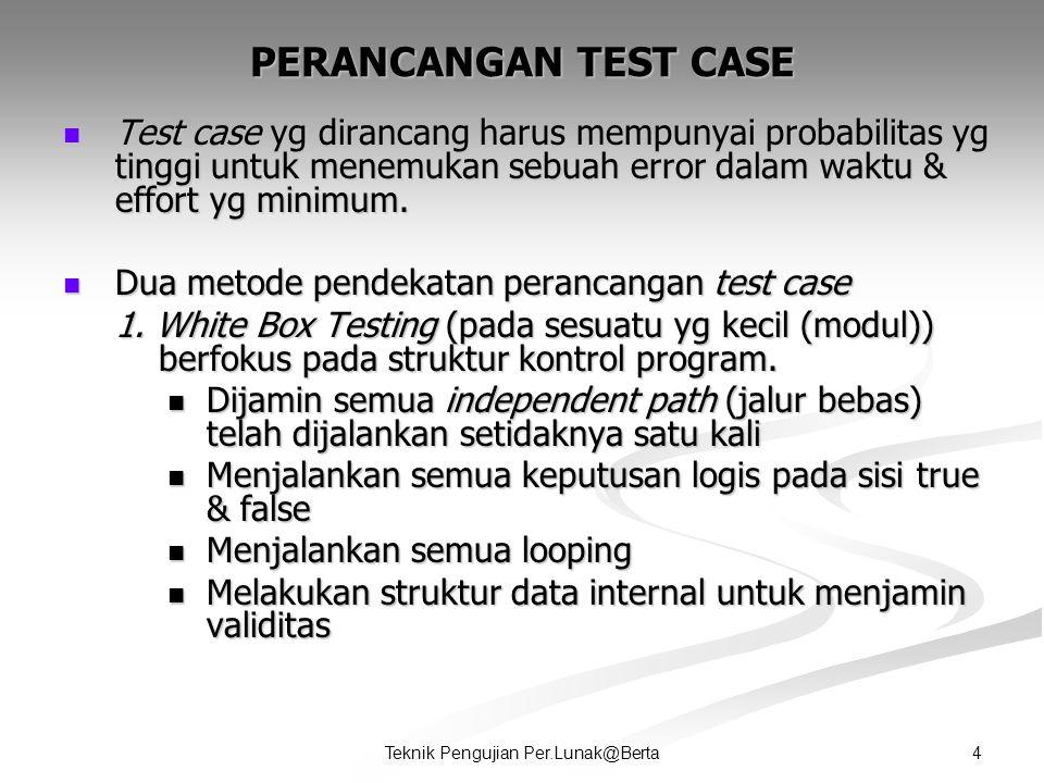 4Teknik Pengujian Per.Lunak@Berta PERANCANGAN TEST CASE  Test case yg dirancang harus mempunyai probabilitas yg tinggi untuk menemukan sebuah error dalam waktu & effort yg minimum.